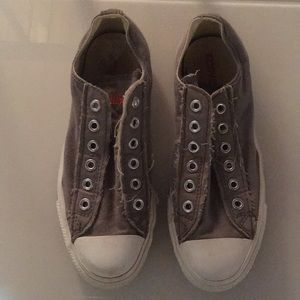 Cute Converse Slip On Gray Distressed Sneakers